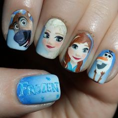 @mrsbaker08 I'll be practicing this on my own nails so I can do the girls. Let me know if they have other ideas they want bc they wanted me to do their nails :-) Disney Nail Designs, Cool Nail Designs, Frozen Nail Designs, How To Do Nails, Fun Nails, Cute Nail Art, Frozen Hair, Anna Frozen, Frozen Movie