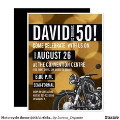 Shop Motorcycle theme birthday party Gold black Invitation created by Lorena_Depante. Personalize it with photos & text or purchase as is! 50th Birthday Invitations, Happy 50th Birthday, Golden Birthday, Personalized Invitations, Zazzle Invitations, Ontario, Carton Invitation, Create Your Own Invitations, Milestone Birthdays