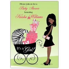 african american women baby shower evites | Hot Mama African American Pink Baby Shower Invitations | PaperStyle