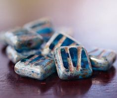 Czech Glass Bead Ocean Blue 10mm Picasso Square  by BobbiThisnThat, $3.30