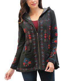 Love this Black Embroidered Isadora Fleece Jacket on #zulily! #zulilyfinds