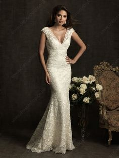 Trumpet/Mermaid V-neck Lace Satin Sweep Train Buttons Wedding Dresses -£200.39