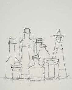 Karl Seitinger, Still Life with Bottles, Sketch on ArtStack #karl-seitinger #art