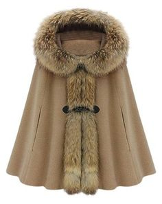 Faux Fur Embellished Horn Button Design Hooded Sleeveless Cloak For Women Fur Coat $123
