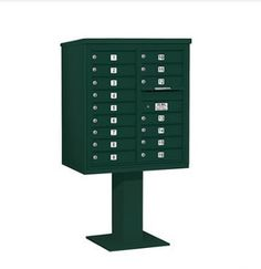 4C Pedestal Mailbox (Includes 26 Inch High Pedestal and Master Commercial Lock) - 9 Door High Unit (62-1/8 Inches) - Double Column - 16 MB1 Doors - Green by Salsbury Industries. $1286.35. 4C Pedestal Mailbox (Includes 26 Inch High Pedestal and Master Commercial Lock) - 9 Door High Unit (62-1/8 Inches) - Double Column - 16 MB1 Doors - Green - Salsbury Industries - 820996455598. Save 26% Off!