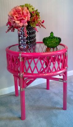 Pretty in Pink bamboo side table by BeCubedDesigns on Etsy, $105.00