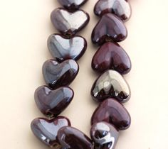 5 PLUM PURPLE Ceramic Porcelain Heart Shaped Beads  by SmartParts, $2.99