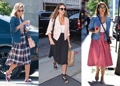 Jessica Alba's Best Midi-Skirt Street Style Outfit Ideas for Work, Date and Weekend