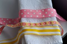 Ribbon dish towels. Beginner sewing project.