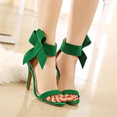 Onlymaker Open Toe Mules Slingback Rhinestone High Heels Slip on Slide Sandals. FASHION DESIGN--Open toe ankle strap stiletto platform sandals feature patent leather material, high slim heel with sexy and comfortable for walking. Bow Sandals, Bow Shoes, Cute Shoes, Heeled Sandals, Dress Shoes, Green Sandals, Shoes Heels, Black Sandals, Wedge Sandals