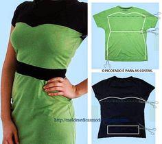 Diy dress - tshirts refashion - How to refashion two t-shirts into a dress Diy T Shirt Dress, Diy Dress, T Shirt Refashion, Shirt Dress Tutorials, Refashioned Tshirt, Refashioned Clothes, Diy Clothing, Sewing Clothes, Sewing Tutorials
