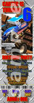 MONSTER JAM TICKET STYLE INVITATIONS (WITH ENVELOPES)