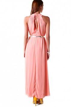 Pleat Shoulder A-Line Maxi Dress in Peach