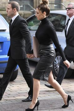 Lucy-Jo Hudson arriving for the funeral of Liz Dawn