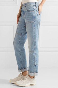 Current/Elliott - The Patchwork Crossover Mid-rise Straight-leg Jeans - Mid denim -