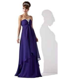 A-Line/Princess Strapless Floor-Length Chiffon Evening Dress With Ruffle Beading - Front View