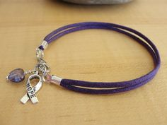 Purple Cotton Awareness Bracelet / Anklet - ADD, ADHD, Alzheimers, Crohns, Fibromyalgia, Huntingtons, Lupus, Thyroid Cancer & More via Etsy