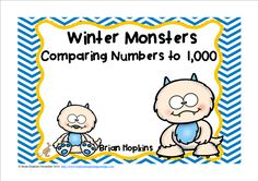 "Comparing Numbers to 1,000 Winter Monsters Race is a board game that uses task cards where your students tell if the first number is greater than, equal to, or less than the 2nd number. If laminated they can put the symbol on the card using a dry erase marker. Students who land on a monster get chased back to start. There are 24 cards in all. These may also be used for ""Scoot"", ""Quiz, Quiz Trade"", ""Numbered Heads Together"", small groups, whole groups, in journals, at centers, early…"