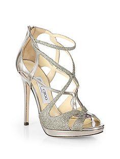 Jimmy Choo Sazerac Glitter & Metallic Leather Strappy Sandals