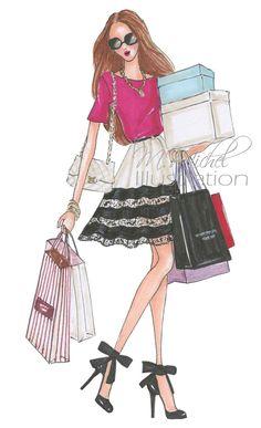 Hey, I found this really awesome Etsy listing at https://www.etsy.com/listing/227380661/fashion-illustration-print-shopping