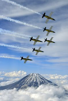 The Breitling Jet Team fly over Mount Fuji, in central Japan on Sunday, May 12, 2013.
