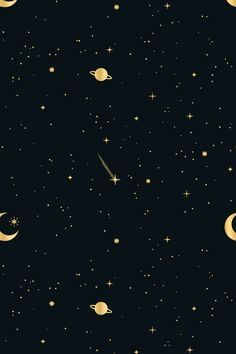 This starry, celestial pattern set consists of 12 seamless vector patterns that were made with elements from my Stars & Celestial Bodies Graphic Pack: . Night Sky Wallpaper, Black Phone Wallpaper, Star Wallpaper, Gold Wallpaper, Iphone Background Wallpaper, Kawaii Wallpaper, Aesthetic Iphone Wallpaper, Galaxy Wallpaper, Aesthetic Wallpapers