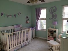 Baby girl nursery- mint and lavender
