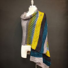 Om Shawl by Andrea Mowry, knitted by deezknitzpgh | malabrigo Rios in Pearl, Teal Feather, Frank Ochre and Pearl Ten