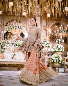 Pakistani Wedding Outfits, Pakistani Bridal, Bridal Outfits, Pakistani Sharara, Sharara Suit, Churidar Suits, Beautiful Pakistani Dresses, Pakistani Dress Design, Fancy Dress Design