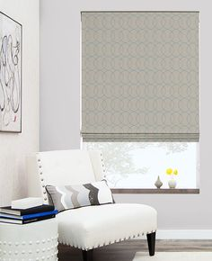 Flat Roman Shades | Custom Roman Blinds | The Shade Store - love the gate stich in blue