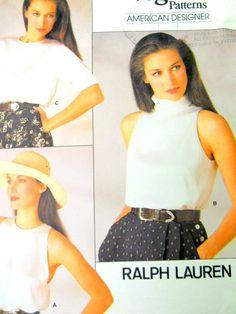 Vogue Sewing Pattern 1724 Ralph Lauren 3 Types Blouses Size 8 Uncut 1986 USA #Vogue