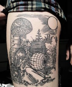 engraving style tattoo by victor j webster