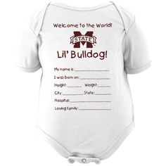 OMG, this would be perfect for baby! Mississippi State Bulldogs Newborn Welcome to the World Creeper - White