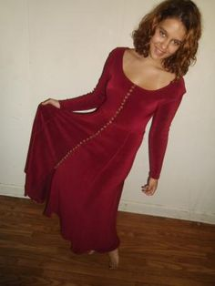 Vintage Red Stretch Knit Dress With Circle Tail Bottom, and Faux Tortoise Shell Buttons Down Front