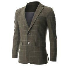 Mens Slim Fit 2 Button Notched Lapel Premium Plaid Blazer Jacket (BJ466) #menswear  #denim #mens fashion #christmas #Blazer #clothing mens