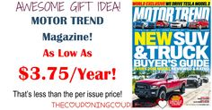 Looking for an awesome gift for your honey? Check out this deal on Motor Trend Magazine! $3.75/Year! That is only $0.31 per issue! No one will know you spent so little!  Click the link below to get all of the details ► http://www.thecouponingcouple.com/motor-trend-magazine-only-4-99year-two-days-only/ #Coupons #Couponing #CouponCommunity  Visit us at http://www.thecouponingcouple.com for more great posts!