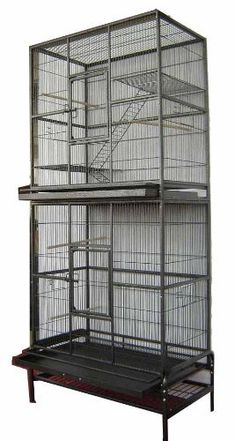 """New Double Extra Large Wrought Iron Cage 3 Levels Ferret Chinchilla Sugar Glider Cage 30""""Length x 18""""Depth x 74""""Height W/Stand on Wheels *Black Vein* by Mcage, http://www.amazon.com/dp/B004VWX8ZW/ref=cm_sw_r_pi_dp_RCKnsb0FP4G1V"""