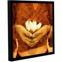 ArtWall Elena Ray Lotus Gallery-wrapped Floater-framed Canvas, Size: 18 x 18, Red