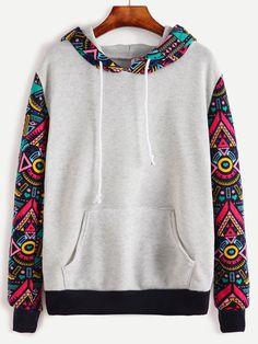Sweatshirts by BORNTOWEAR. Contrast Sleeve And Hooded Sweatshirt With Kangaroo Pocket