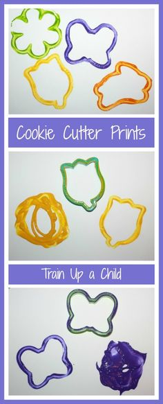 Making prints with cookie cutters.  Spring themed paintings.  Exploring prints and focusing on the process of creating for toddlers on up.