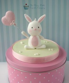 Little Bunny Cake Topper Made for a christening cake. Fondant Figures, Rabbit Cake, Cake Topper Tutorial, Fondant Toppers, Sugar Craft, First Birthday Cakes, Love Cake, Cute Cakes, Cupcake Cookies