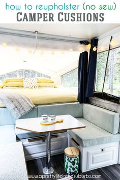 An easy NO-SEW way to Reupholster Camper Cushions! All you need is fabric hardboard and staples. You can get this project completed in one day! Camper Diy, Popup Camper Remodel, Camper Renovation, Camper Remodeling, Remodeling Ideas, Camper Cushions, Pop Up Trailer, Trailer Diy, Pop Up Tent