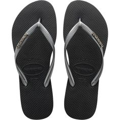 Havaianas Slim Logo Flip Flops , Black/Graphite (521.660 IDR) ❤ liked on Polyvore featuring shoes, sandals, flip flops, rubber sandals, havaianas flip flops, black sandals, beach flip flops and rubber flip flops