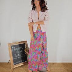 Check out Sze 6 / 8 Retro 70's Maxi Skirt, Tie Dyed 1970's Wrap Maxi skirt. on eleanorfayesfashion