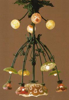 Art Nouveau - Lampe - Lustre - Pâte de Verre - Emile Gallé