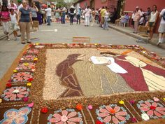 Carpet made of sawdust, flowers, seeds,   made on the streets for Easter Week  Comayagua, Honduras