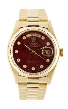 Vintage Rolex 18K Yellow Gold Day-Date President With Grossular Diamond Dial by CMT Fine Watch and Jewelry Advisors for Preorder on Moda Operandi