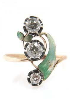 Sweet antique Art Nouveau enamel diamond ring