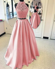 eb52213d6bf A-line High Neck Open Back Satin Prom Dresses Two Piece