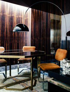 giorgio possenti brass geometric table rust velvet office wood panel walls 70s modern luxe